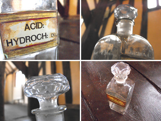 A Late 19thC Glass Apothecary Bottle with Cut Glass Stopper for Hydrochloric Acid