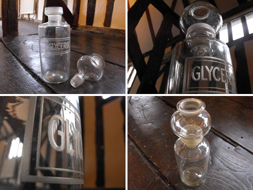 A Scarce Late 19thC Etched Glass Apothecary Bottle for Glycerin, the Stopper in the Form of a Funnel