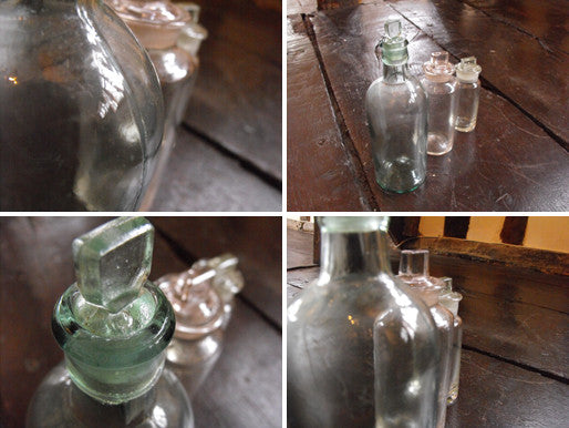 A Trio of Late 19thC Plain Glass Apothecary Bottles to Include One in Light Green