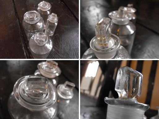 A Quartet of Graduating Late 19thC Plain Glass Apothecary Bottles