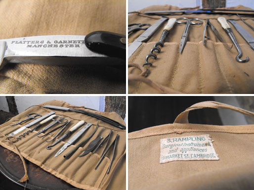 A Twelve-Piece Field Surgical Kit, by Flatters & Garnett Ltd of Manchester, supplied by S Rampling of Market St, Cambridge