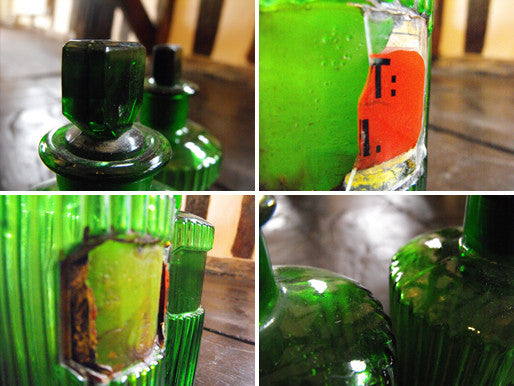 Two Late 19thC Green Glass Apothecary Bottles