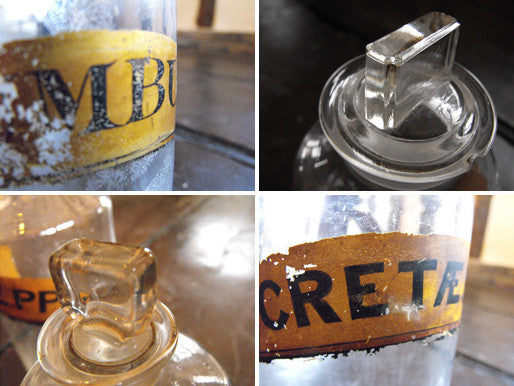 Two Late 19thC Glass Apothecary Bottles with Painted Gold Banners for Chalk and Muskroot