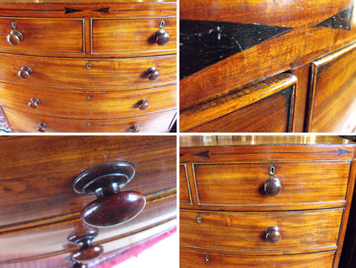 A Whimsical 19th Century Mahogany & Ebony Inlaid Bow Fronted Chest of Drawers