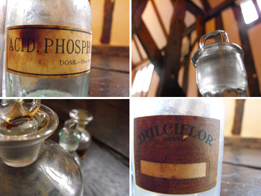 Three Late 19thC Glass Apothecary Bottles with Assorted labels, to include one for Perfume