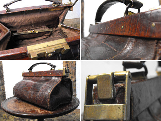 A Gorgeous Edwardian Crocodile Skin & Silk Lined Gladstone Handbag