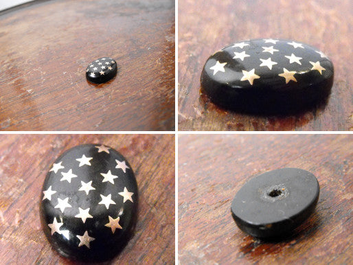 An Attractive Vintage Black Cabochon Button with Inlaid Star Detail