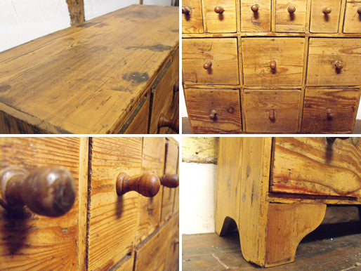 A Victorian Antique Country Pine Flight of Twelve Drawers