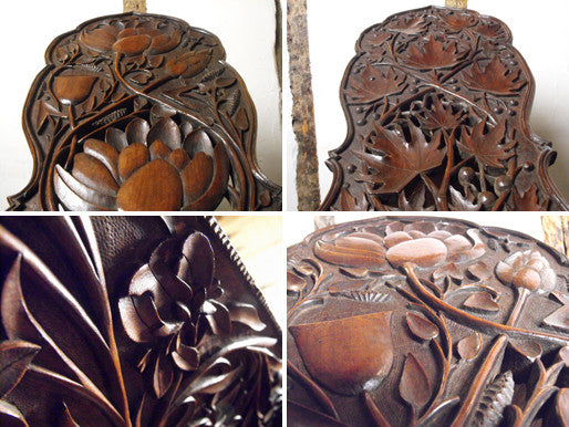 A Profusely Carved Late 19thC Arts & Crafts Walnut Book Trough & Stand