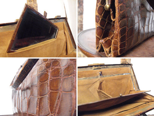 A Dashing Edwardian Crocodile Skin & Suede Lined Handbag