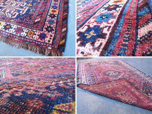 A Beautifully Worn Semi Old Persian Shiraz Rug 242cm x 140cm