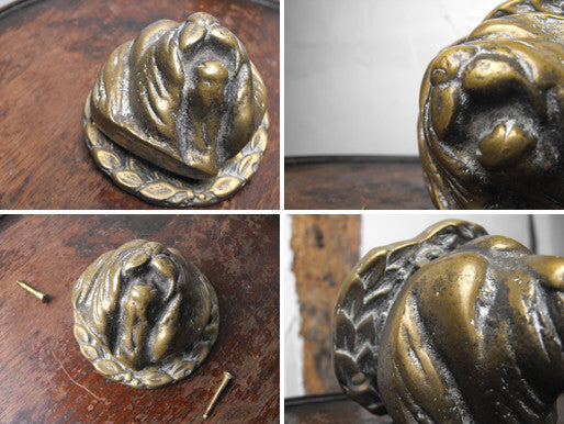A Charming Edwardian Brass Doorknocker in the form of an Old English Sheepdog