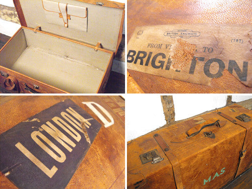 A Large Vintage Leather Travelling Suitcase