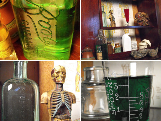 A Fascinating Late 19thC Apothecary Medical Cabinet to Include Bottles, Diagrams & Models