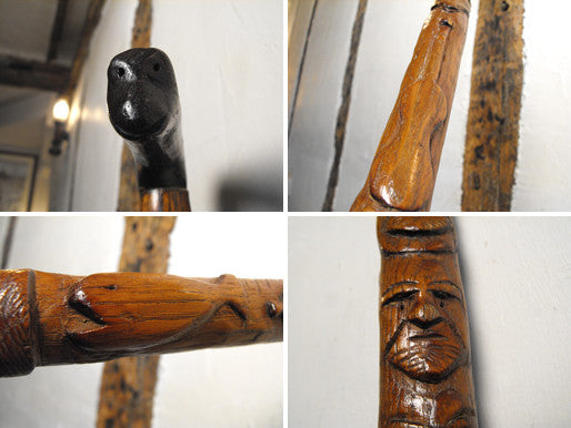 A Compelling c.1900 English Folk Art Walking Stick