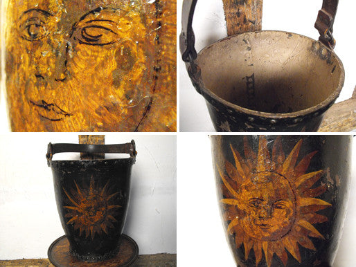 A Gorgeous Georgian Japanned & Gilt Painted Leather Fire Bucket