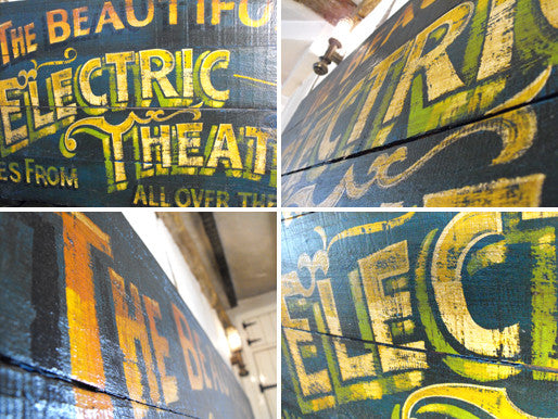 "A Marvellous Large Double Sided & Hand Painted ""Electric Theatre"" Fairground Sign"