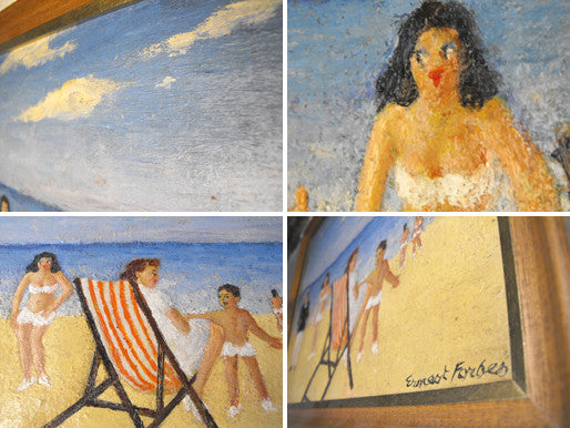 A Charismatic Original Oil on Canvas: Beach Scene by Ernest Forbes (1877-1962), RBA.