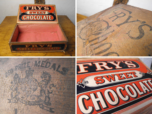 A Scarce Vintage Pine J. S. Fry & Sons Sweet Chocolate Display Counter Box