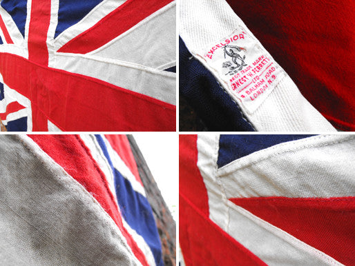 "A Quality Large Vintage Cloth Union Jack ""Excelsior"" Flag by Ernest W Perrett London"