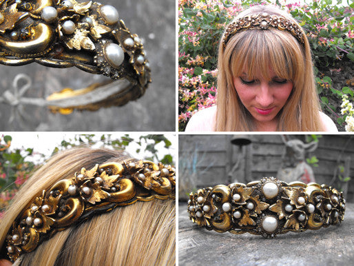 A Stunning Vintage Gilt Metal, Paste Stone & Faux Pearl Wedding Headdress Bandeau