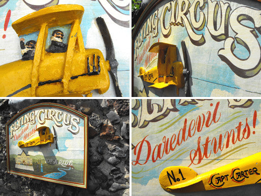 A Wonderful Three Dimensional Hand Painted 'Flying Circus' Fairground Sign