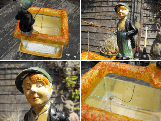 A Rare Austrian Art Deco Period Glass & Terracotta Fish Tank with Fisherman