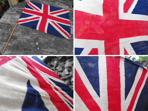 A Good British Vintage Printed Union Jack Flag on Pole
