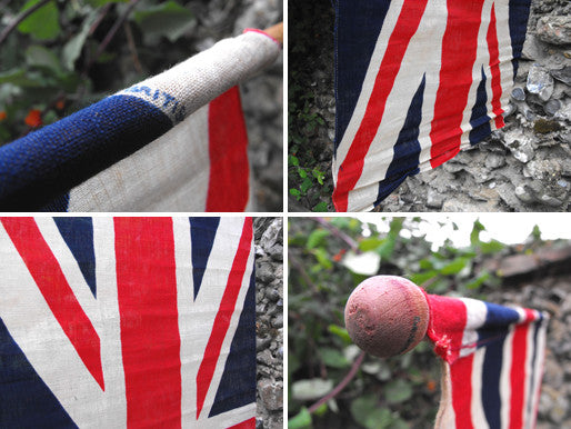 A Large Mounted British Vintage Printed Union Jack Flag on Pole
