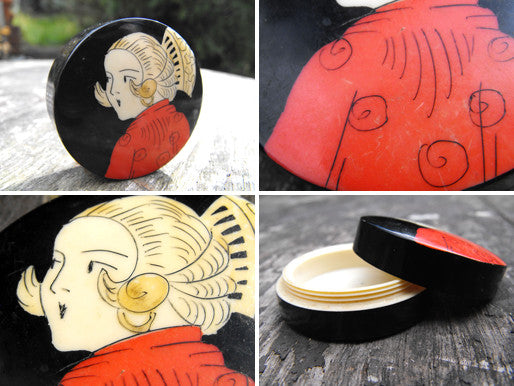 An Eye-catching Art Deco Celluloid Geisha Pill Box
