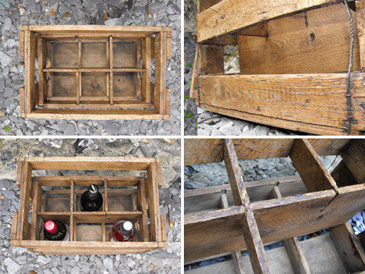 A Rustic Early 20thC Vintage Pine Wine Crate