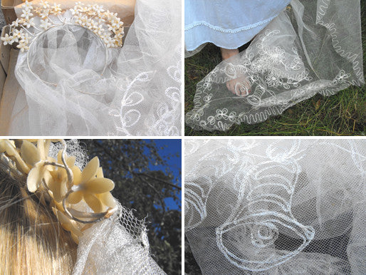 A Beautiful 1940s Vintage Bridal Ivory Net Veil & Wax Flower Headdress