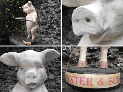 A Superb Hand Painted Butchers Advertising Composite Shop Display Model Of A Pig; 'Baxter & Sons'