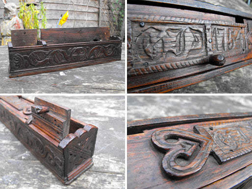 A Charming George II Period Chip Carved Treen Pen Box, Dated to 1754