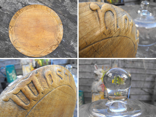 A Good 19thC Sycamore Carved Bread Board with Motto 'Waste Not' & Associated Glass Dome Cover