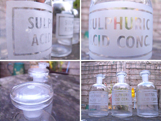 Three Late 19thC Etched Glass Apothecary Bottles For Sulphuric & Nitric Acids