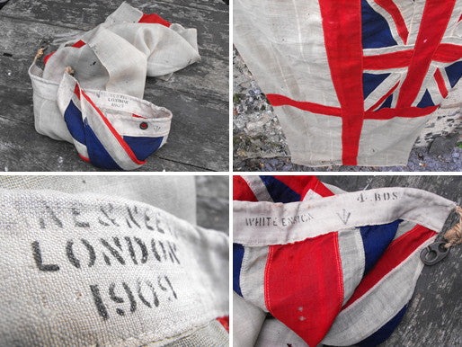 A Highly Desirable British Antique Royal Navy White Ensign Applique Flag; Lane & Neave, London 1909