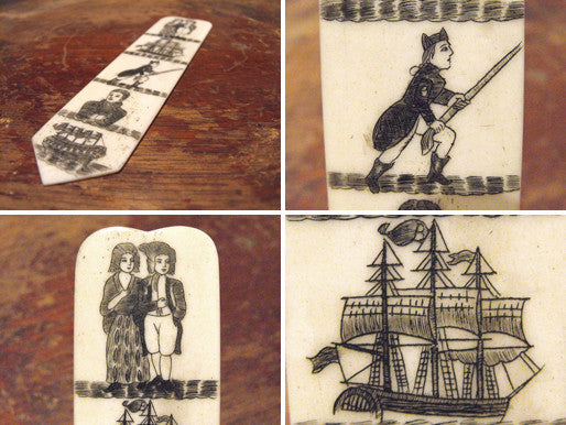A Fine c.1810 Miniature Marine Ivory Scrimshaw Sailors Love Token Stay Busk