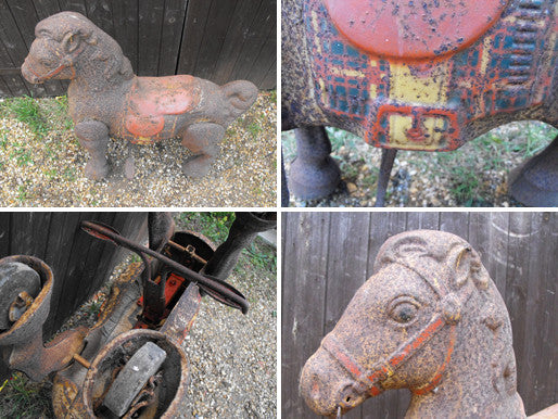 An Appealing Mid 20thC Articulated Carousel Tin Horse From a Fairground Ride