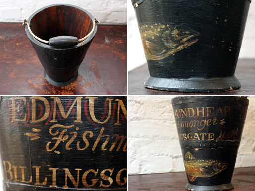 A Very Decorative Early 20thC Polychrome Hand-Painted Oak Fishmongers Bucket