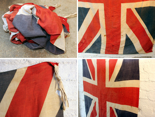 An Early 20thC Medium Sized Cotton British Vintage Printed Union Jack Flag