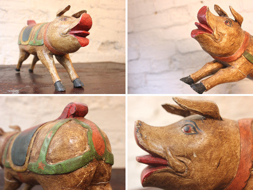 A Fun 20thC Carved Polychrome Wood Model of a Fairground Pig