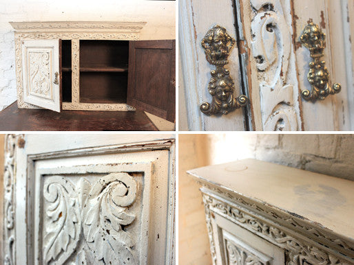 A Well Carved & Painted Solid Oak 17thC Style Wall Cupboard