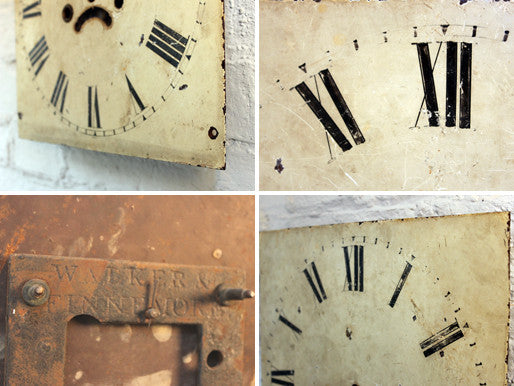 A Square c.1810 Painted Grandfather Clock Dial by Walker & Finnemore of Birmingham
