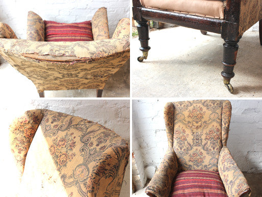 A Roomy George IV Regency Country House Mahogany Wingback Armchair c.1820-30