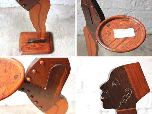 A Splendid Early 20thC Art Deco Mahogany Butler Card Tray Stand Formed as a Bellboy