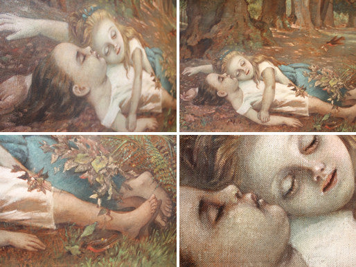A Very Large 19thC Oil on Canvas 'Babes in the Wood'