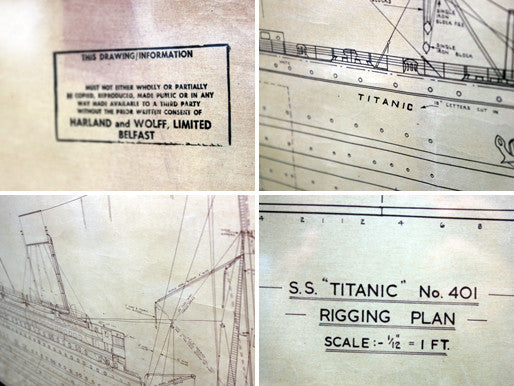 A Superb Set of Four Mid 20thC Facsimile Harland & Wolff Working Plans for the RMS Titanic