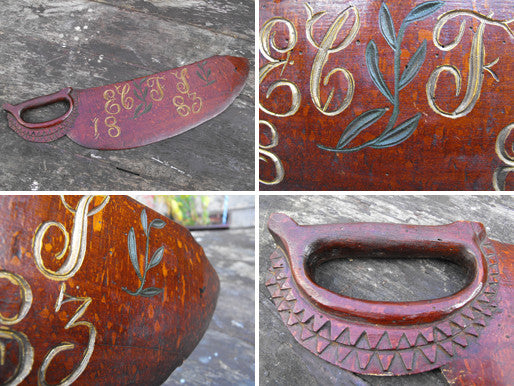An Unusual 19thC Treen Carved & Hand Painted Folk Art Love Token in the Form of a Hand Saw