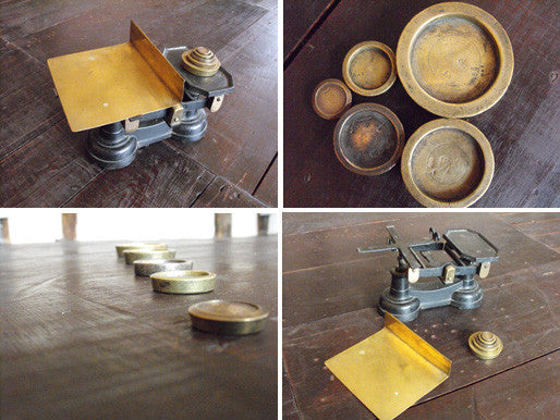 A Set of Postal Letter Scales with Brass Tray & Original Weights